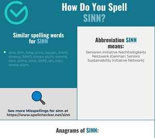 Correct spelling for sinn