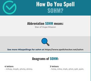 Correct spelling for sohm