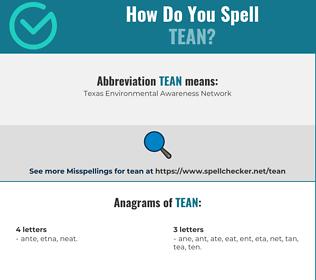 Correct spelling for tean