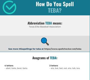 Correct spelling for teba