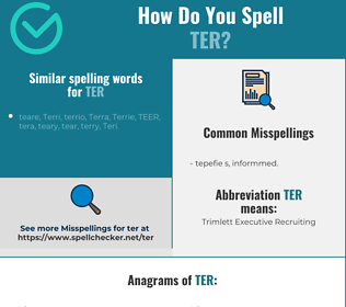 Correct spelling for ter