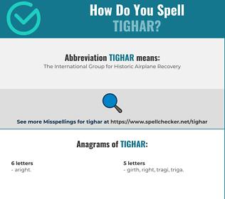 Correct spelling for TIGHAR