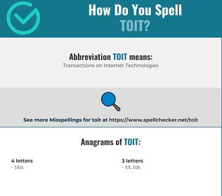 Correct spelling for toit