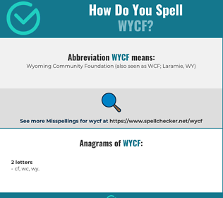 Correct spelling for WYCF