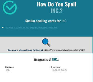 Correct spelling for inc.