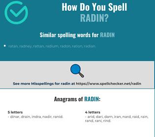 Correct spelling for radin