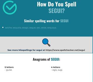 Correct spelling for segui