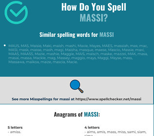 Correct spelling for massi