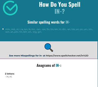 Correct spelling for in-