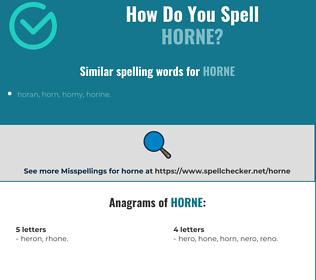 Correct spelling for horne