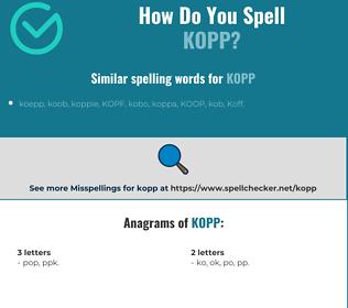 Correct spelling for kopp