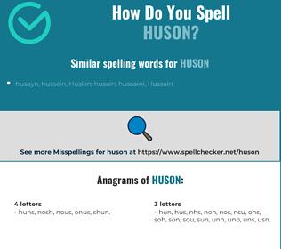 Correct spelling for huson
