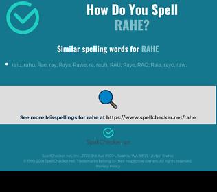 Correct spelling for rahe