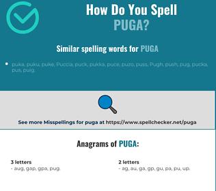 Correct spelling for puga
