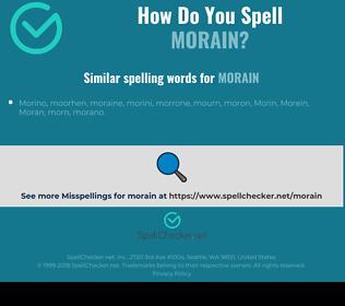 Correct spelling for morain