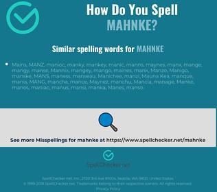 Correct spelling for mahnke