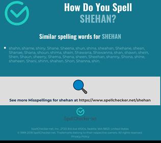 Correct spelling for shehan