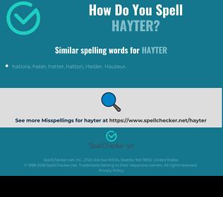 Correct spelling for hayter