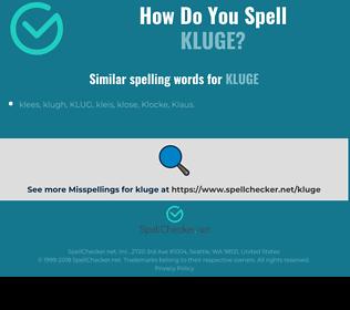 Correct spelling for kluge