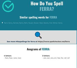 Correct spelling for ferra