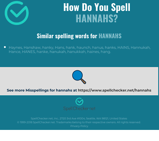 Correct spelling for hannahs