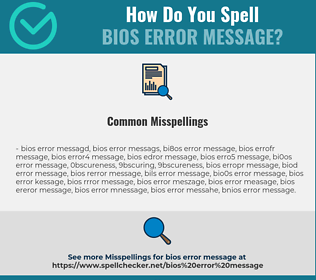 Correct spelling for BIOS error message