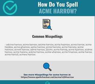 Correct spelling for acme harrow