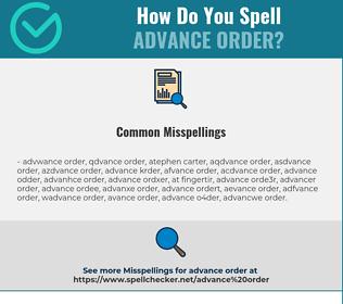 Correct spelling for advance order