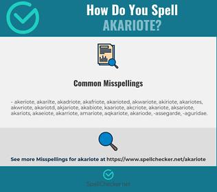 Correct spelling for akariote