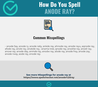 Correct spelling for anode ray