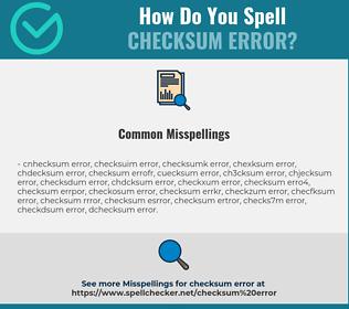 Correct spelling for checksum error