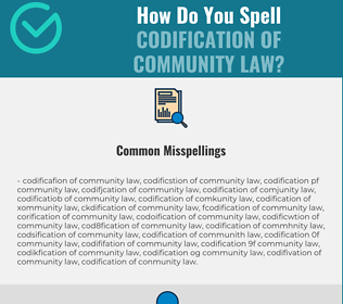 Correct spelling for codification of community law