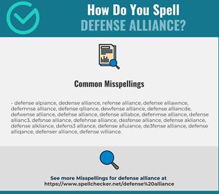 Correct spelling for defense alliance
