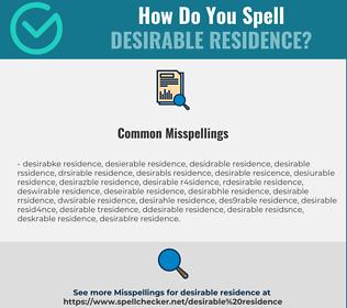 Correct spelling for desirable residence