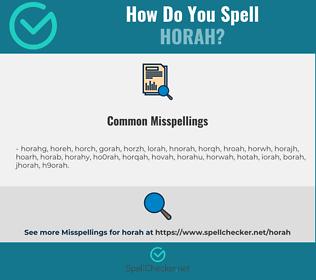 Correct spelling for horah