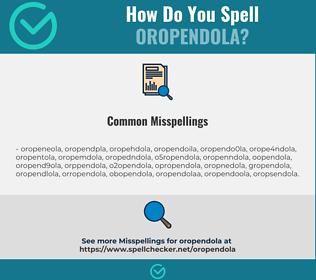 Correct spelling for oropendola