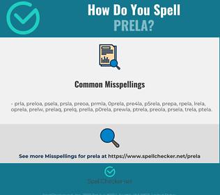 Correct spelling for prela