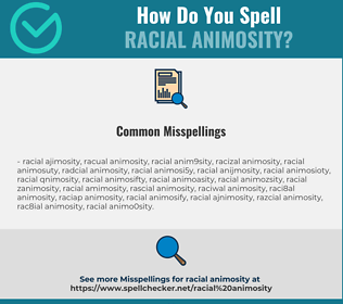 Correct spelling for racial animosity