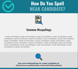 Correct spelling for weak candidate