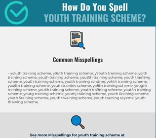 Correct spelling for youth training scheme