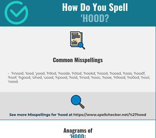 Correct spelling for 'hood