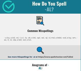 Correct spelling for -al