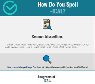 Correct spelling for -ical