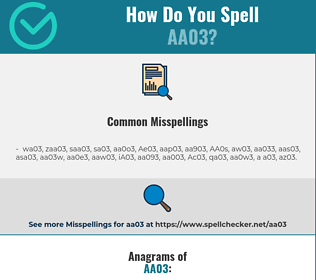 Correct spelling for AA03