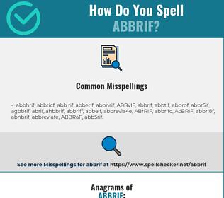 Correct spelling for ABBRIF