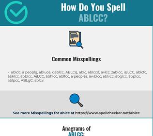 Correct spelling for ABLCC