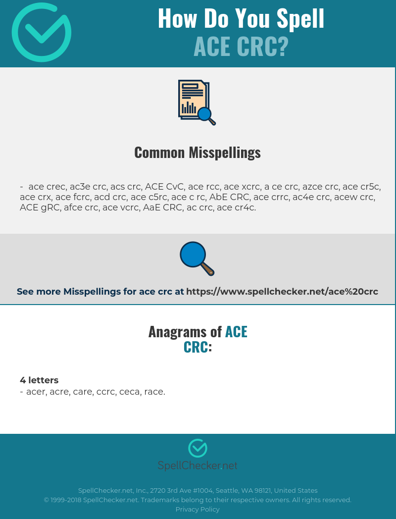 Correct spelling for ACE CRC [Infographic] | Spellchecker net