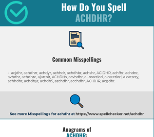 Correct spelling for ACHDHR