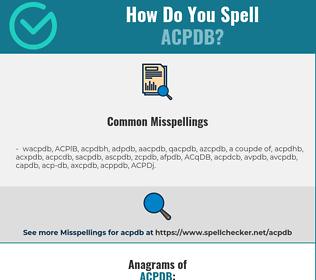 Correct spelling for ACPDB