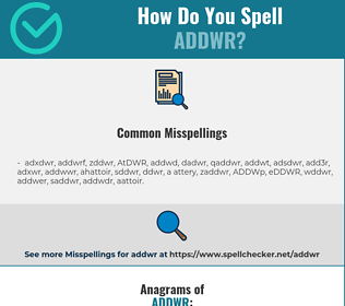 Correct spelling for ADDWR